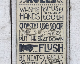 "Bathroom Rules - large 11"" x 24"" distressed rustic hand painted wood sign, Children's bathroom wall decor, farmhouse style"