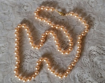 Vintage Beaded Necklace, 1960's, Peachy, Faux Pearls, Glass Beaded, Long Necklace, Excellent Condition