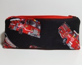Firetruck Pencil Pouch, children, soft profile, Zipper bag, art pouch, travel pouch