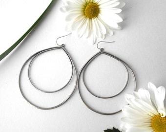 double hoop earring,  sterling silver, teardrop hoops,  large hoops, ready to ship