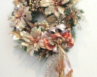 Victorian Beaded Holiday Rose Gold and Rust Wreath with Butterfly Ornament