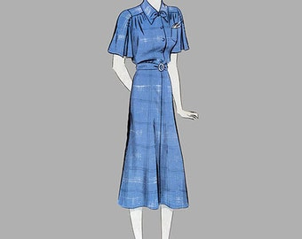 Rare 1930s Dress pattern Vintage Hollywood Pattern 1517 Marsha Hunt Flared short sleeves, front breast pocket, Puff sleeves, Size 16 Bust 34