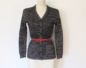 Vintage 1970s Jeana / Black & Silver Lurex / Metallic Space Dyed Knit Cardigan / Fitted Sweater