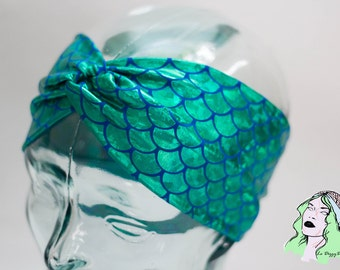 Holographic Mermaid Scale Turban Knot Headband - MULTIPLE COLORS AVAILABLE