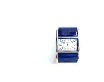 Ultramarine Lucite Cuff Vintage Statement Watch // Functioning With New Batteries