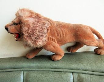 Vintage Lion, Flocked Lion, Animal Figurine, Lion Figurine, Flocked Animal, Roaring Lion, Zoo Animal Figure, Lion Figure, Big Cat Figurine