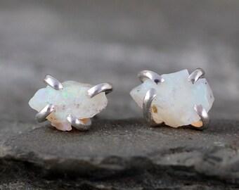 Raw Opal Earrings - Uncut Raw Rough Opal Earring - Sterling Silver Stud Style - Rustic Shape - October Birthstone - Raw Gemstone Earrings