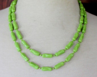 Vintage Necklace Multi strand Statement  Green beaded Bamboo Beads