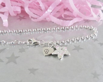 Sterling Silver Flower Charm Bracelet - Personalized Heart Initial Charm - Hand Stamped Sterling Silver Charm Jewelry - Gracie Jewellery