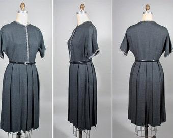 1950s Grey Wool Secretary Style Vintage Day Dress SZ S