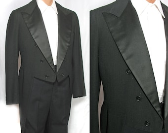 Men's 1940s Black Wool Formal Tail Coat