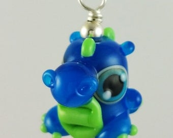 Atlas Dragon Royal Blue and Green Lampworked Glass Necklace and Cell Charm
