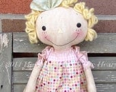 Primitive Raggedy Cloth Doll, Pink Ribbon Cancer awareness gift doll, handmade Doll, Custom Made for the survivor