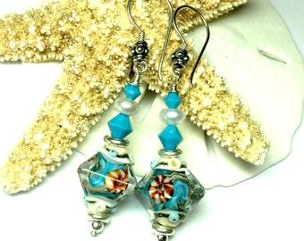 Ocean Earrings Bicone Earrings Glass Earrings Turquoise Earrings Beach Earrings Lampwork Earrings Artisan Earrings Beaded Earrings