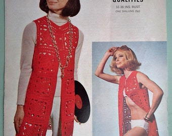 Vintage Crochet Pattern 1970s Women's Long Waistcoat Gilet Granny Squares 70s original pattern Lister No. N2162 U summer beach cover up top
