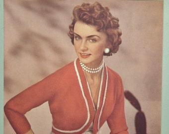 Vintage 1950s Knitting Pattern Women's Bolero Top Cardigan Jacket 50s original pattern Lavenda Hand Knit No. 399 UK pattern