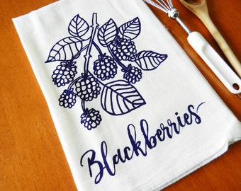 Tea Towel, Blackberries, Screen Printed Flour Sack Towel, Farmhouse Kitchen, Blackberry Kitchen Decor, Foodie Gift, Cottage Chic Flour Sack