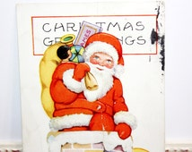 Vintage Christmas Postcard, Vintage Santa Postcard, Santa Claus, Sack of Toys, Climbing Down Chimney, Bag of Toys, Whitney Made
