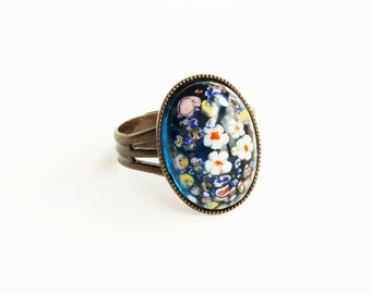 Millefiori Ring Vintage Glass Millefiori Daisy Ring Floral Glass Ring Lampwork Jewelry Flower Ring Vintage Style Millefiori Jewelry