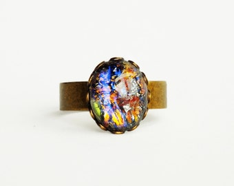 Black Opal Ring Vintage Rainbow Glass Ring Fire Opal Brass Ring Adjustable Rainbow Ring Iridescent Glass Ring Opal Jewelry