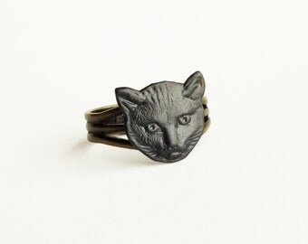 Black Cat Ring Oxidized Brass Adjustable Ring Cat Lovers Jewelry