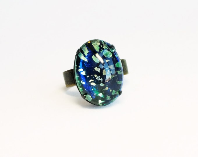 Opal Ring Emerald Ring Harlequin Fire Opal Jewelry Green Glass Ring Green Opal Iridescent Green Jewelry Adjustable Ring
