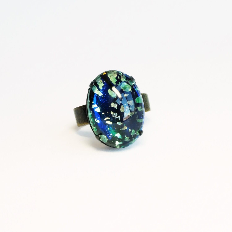 opal ring emerald ring harlequin opal jewelry green glass