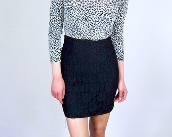 Black Lace High Waisted 80's Skirt