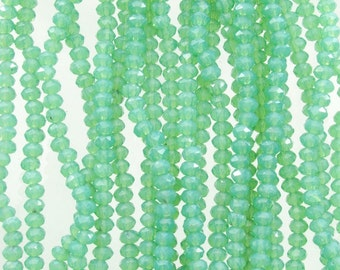 3.5x2.5mm Faceted Green Opal Chinese Crystal Rondelle Beads 6 Inch Strand (35CCS16)