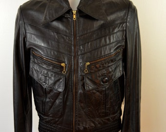 on sale Vintage 1970's LEATHER MOTORCYCLE JACKET coat Flamingo size 40 chain pulls