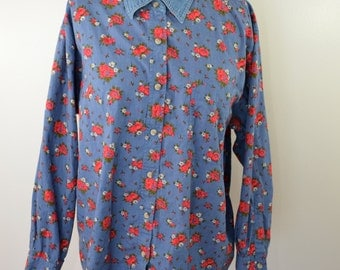 Vintage CHIC cotton and denim flower pattern long sleeve ladies shirt size large