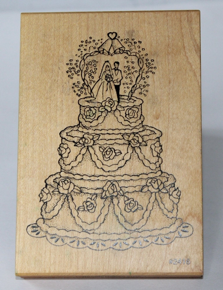 Wedding Cake Wood Rubbler Stamp By Comotion By Ilovevintagestuff