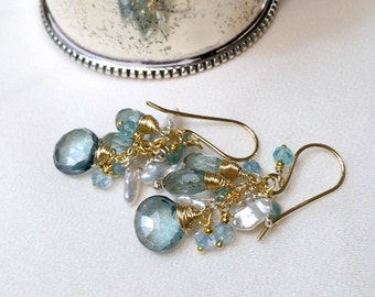Moss Aquamarine Earrings Gold Wire Wrapped Dangle Earring Gemstone Cluster Keishi Pearl Apatite Blue Topaz Earrings March Birthstone
