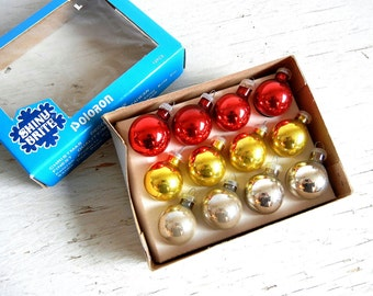 Shiny Brite Christmas Ornaments | Feather Tree Ornaments | Poloron | Original Box