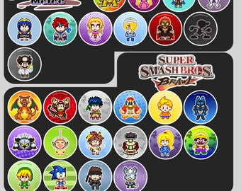 "Super Smash Bros Pixel Art 1.5"" Pin Buttons or Magnets"