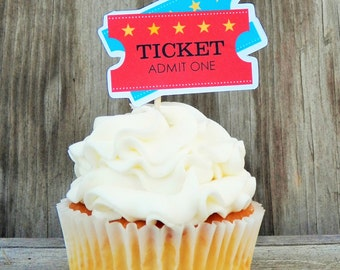 Big Top Circus Party - Set of 12 Circus Ticket Cupcake Toppers by The Birthday House
