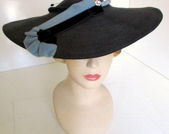 Vintage Wide Brim Cartwheel Hat Avant Garde Art Deco Hat Navy with Blue Velvet Henry Ross Paris Designer Pancake Hat