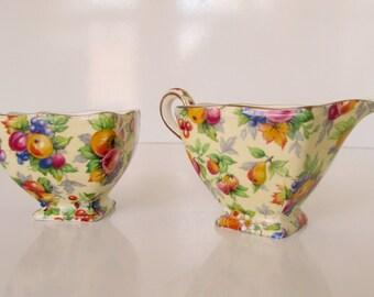 Vintage Chintz Cream and Sugar Royal Winton Evesham Pattern Chintz