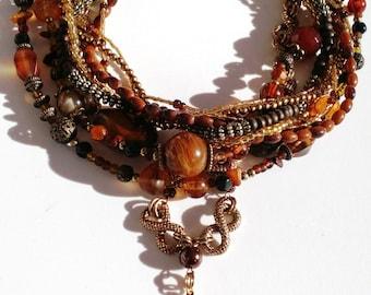 Bronze, orange, amber vintage tone beads and agate pendant handmade necklace