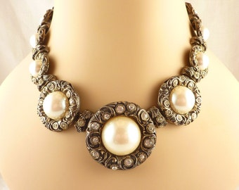 Vintage Dauplaise Gold Tone Large Faux Pearl Victorian Revival Necklace
