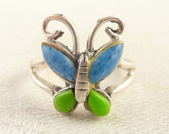 Size 6 Vintage Sterling Green and Blue Enamel Butterfly Ring