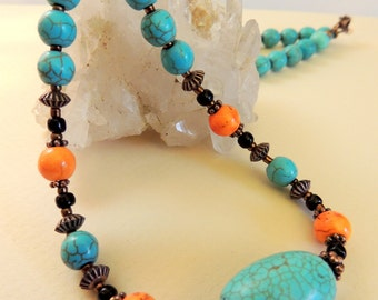 Turquoise Necklace, Copper Jewelry, Turquoise and Orange, Handcrafted Jewelry, Gemstone Jewelry, Boho Jewelry, Native Style