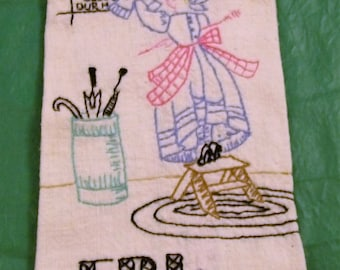 Vintage Embroidered Towel, Tuesday Towel, Friday Towel, Vintage Striped Towels, vintage kitchen