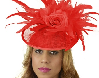 Red Finey Fascinator Hat for Kentucky Derby,Melbourne Cup, Ascot (other colors)