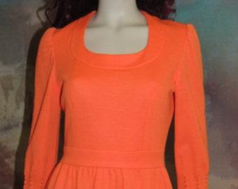 Vtg Halloween  Pumpkin Orange Knit Dress