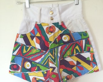 XS Colorful Geometric Pattern Jean Shorts White 90s