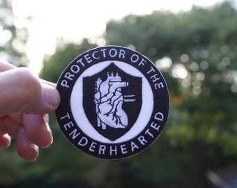 PROTECTOR of THE TENDERHEARTED - Anatomical heart iron on patch - accessories  - fathers day gift - mothers day gift - give love