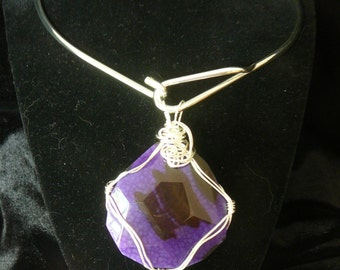 Purple Dragon's Vein Agate Pendant - Wrapped with Silver (A)