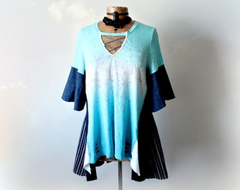 Plus Size Women's Turquoise Tunic Top Boho Style Recycled Clothing Loose A-Line Tunic Hippie Chic Clothes Wearable Art Shirt 1X 'PHOENIX'