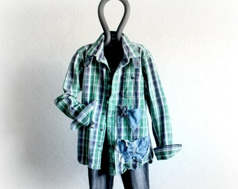 Vintage Flannel Shirt Women Boho Clothing Rustic Clothes Faded Worn In Light Jacket Casual Country Fashion Bohemian Layer Top S/M 'RILEY'